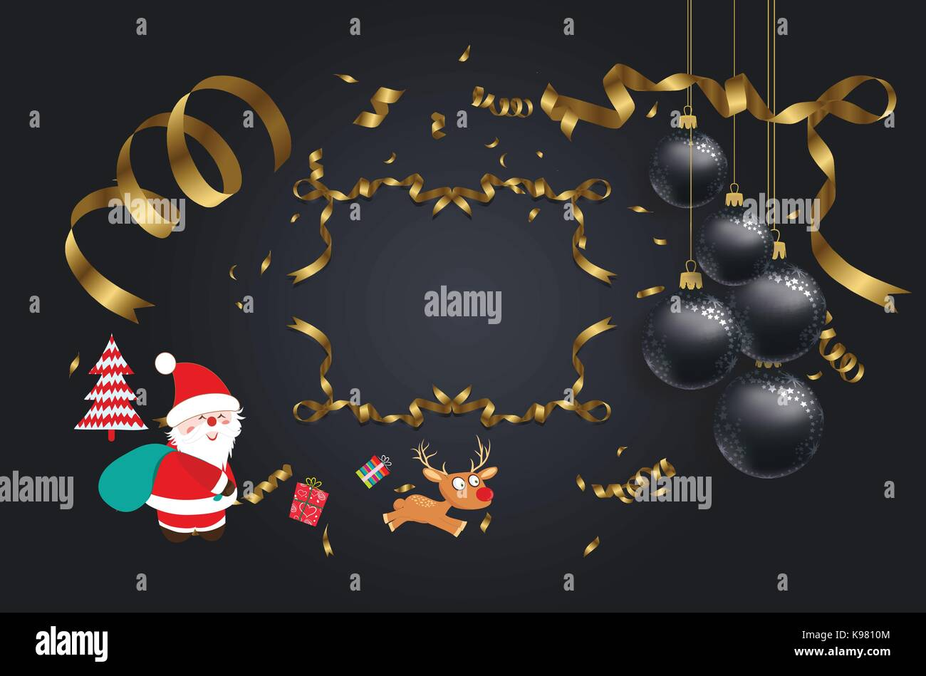 vector illustration of christmas 2018 background with christmas ...