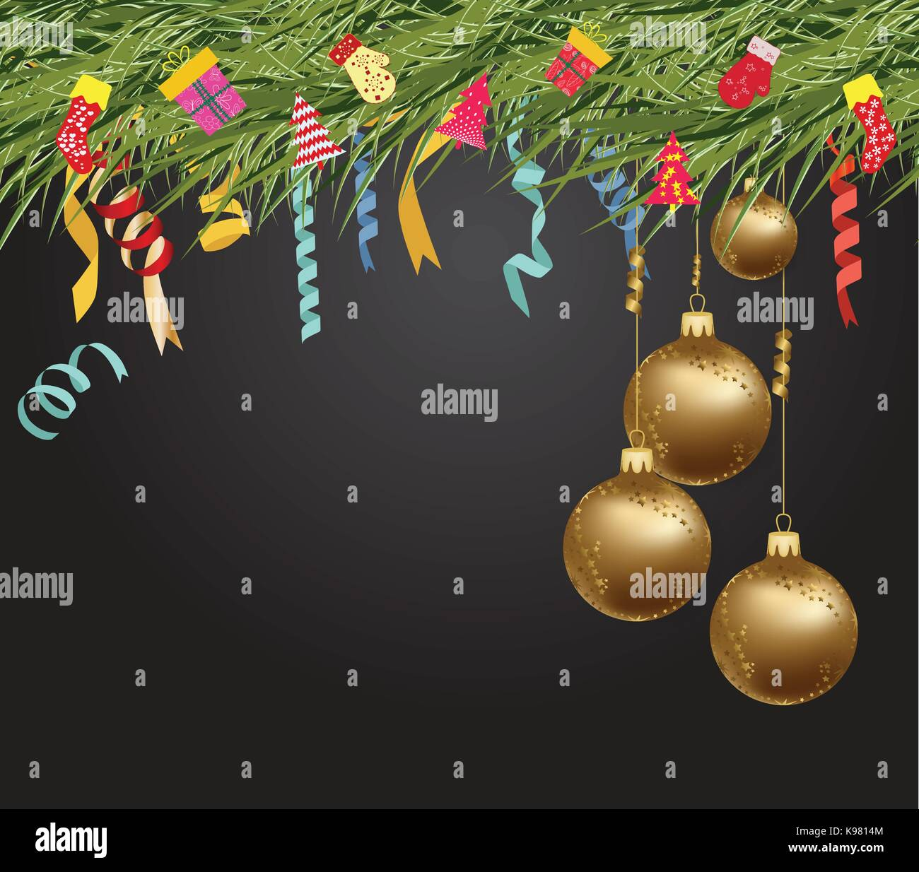 merry christmas and happy new year 2018 wallpaper balls gold