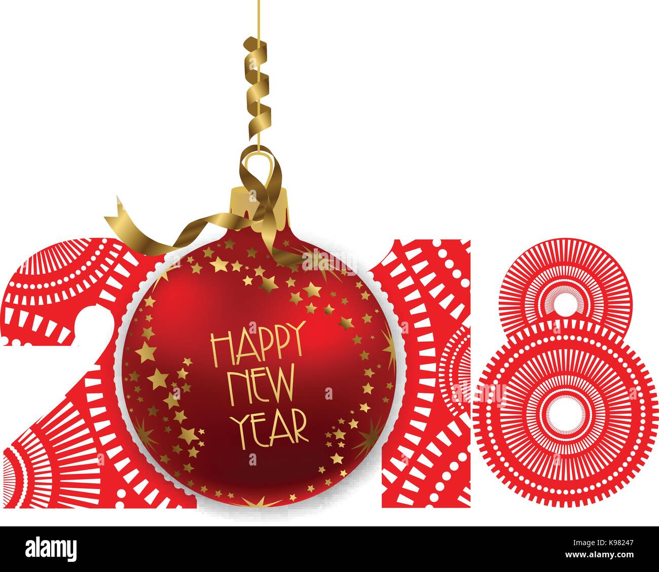 vector illustration of red ball isolated on white background happy new year 2018 theme
