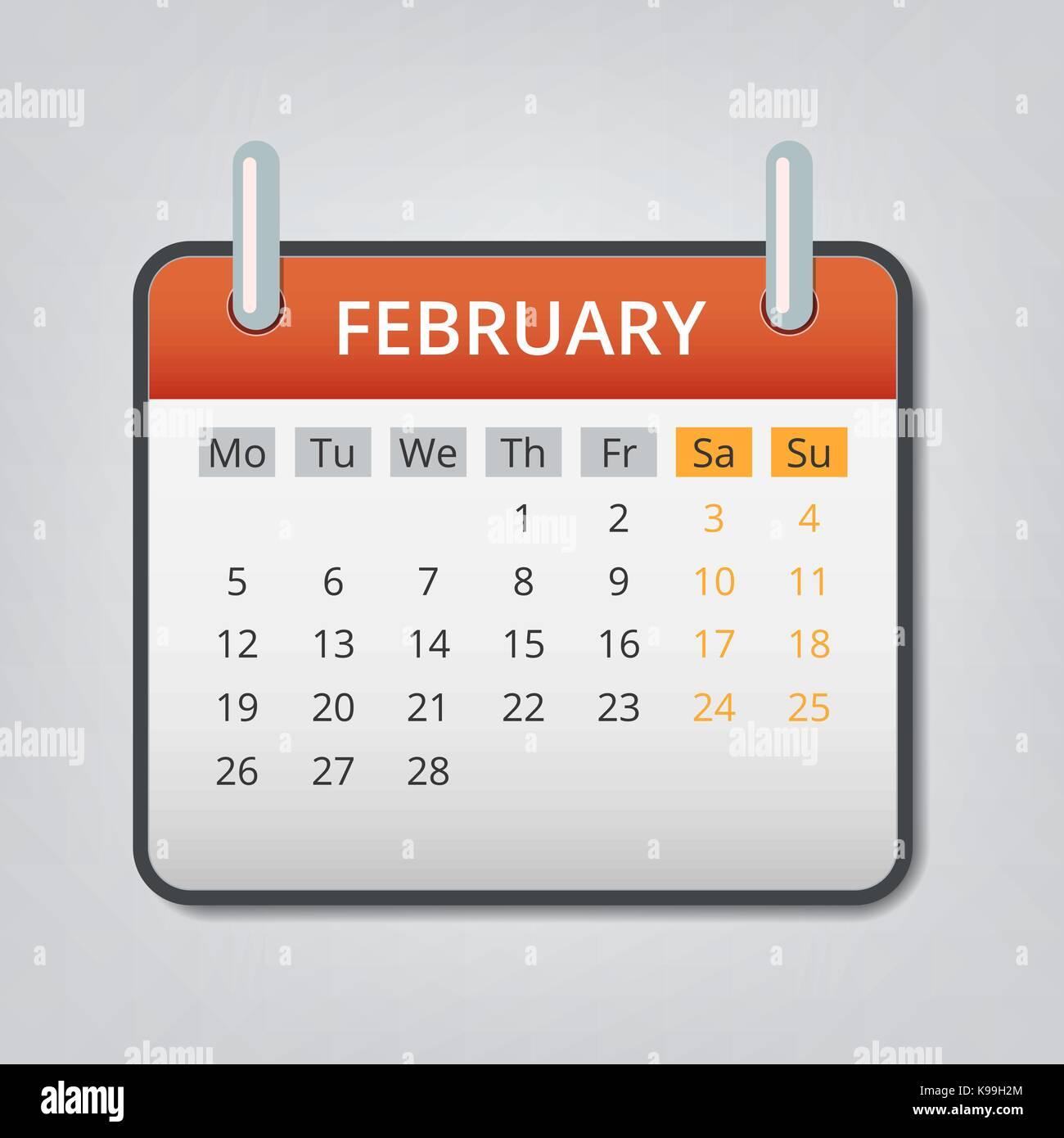 February 2018 calendar concept background, cartoon style Stock ...