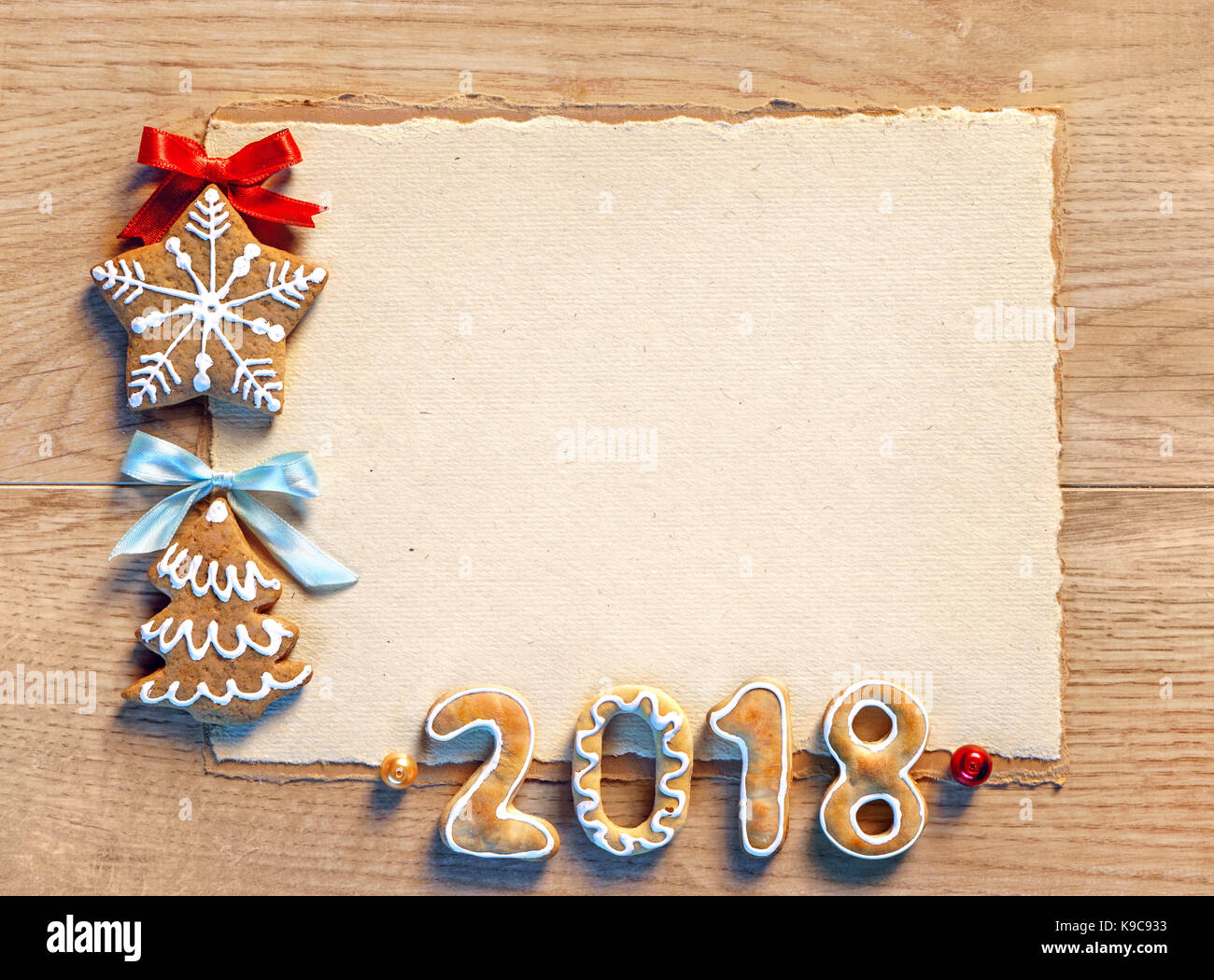 christmas card with gingerbread cookies 2018 merry christmas and happy new year copy space for your text top view high resolution product
