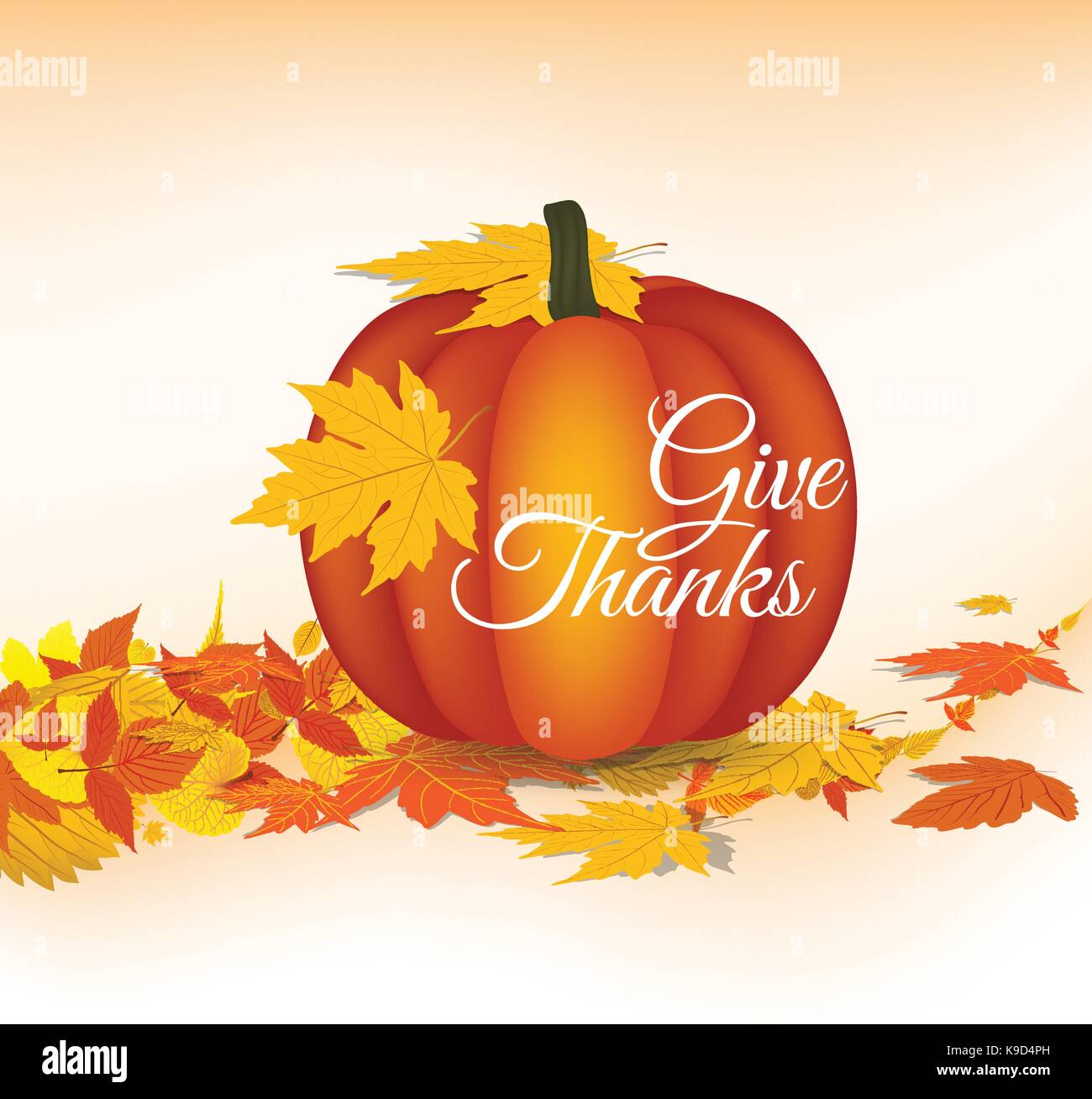 Happy Thanksgiving Greeting Card With Leaves Pumpkin Stock Vector
