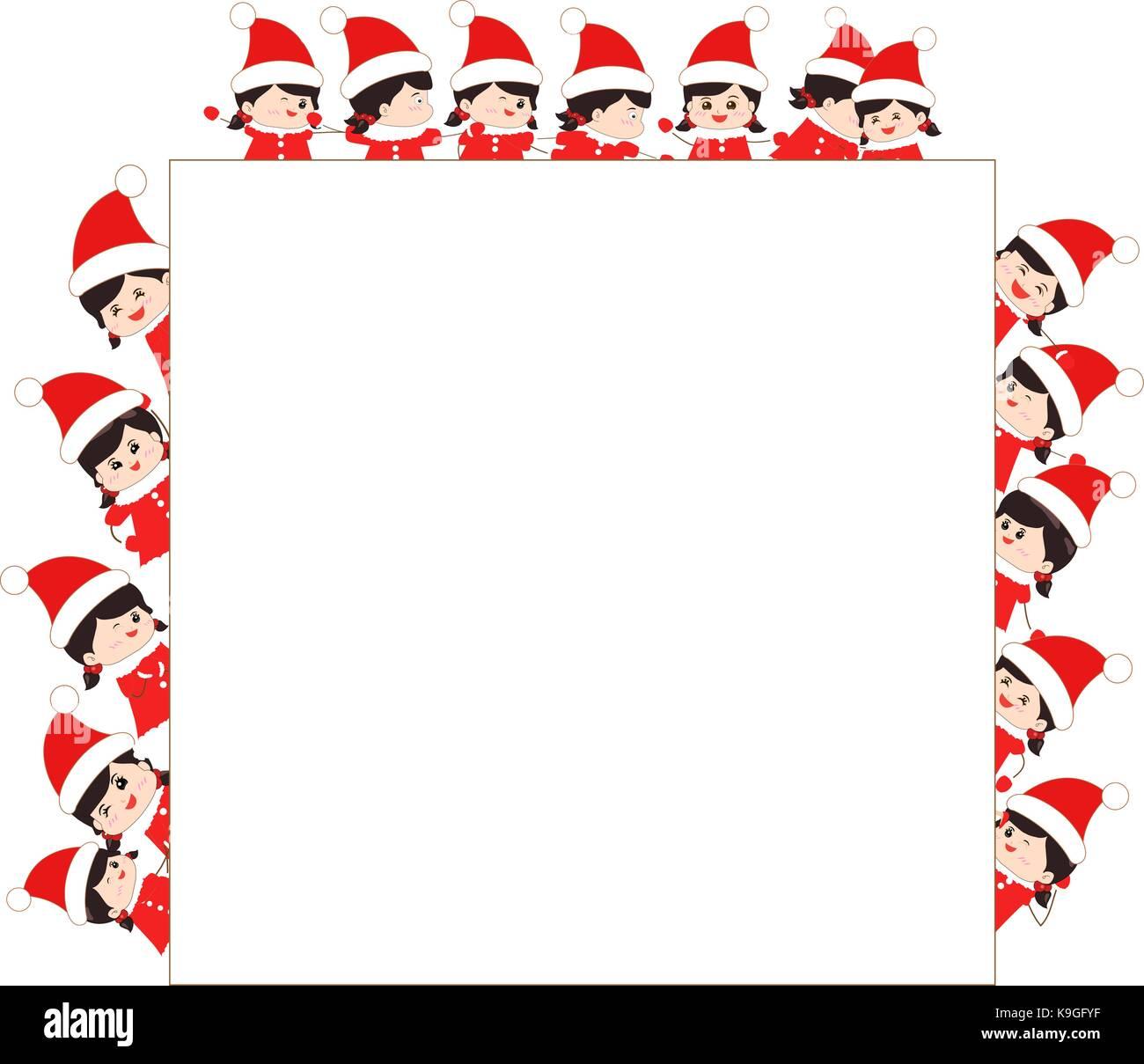 children dressed as santa claus kids and frame Stock Vector Art ...