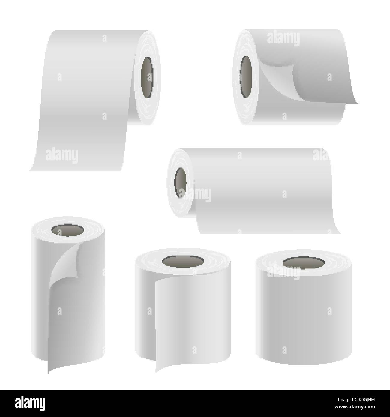 realistic paper roll set vector template blank white toilet paper