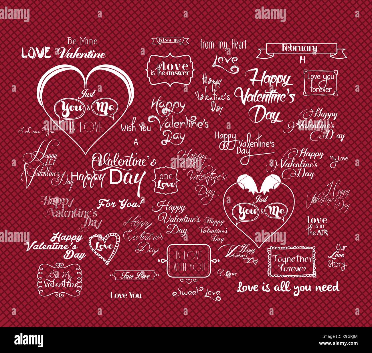 Set Of Happy Valentine S Day Hand Lettering Typographical Stock