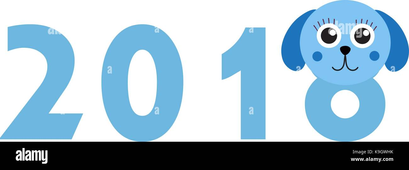 new year 2018 figures with cute puppy dog isolated on white background vector illustration
