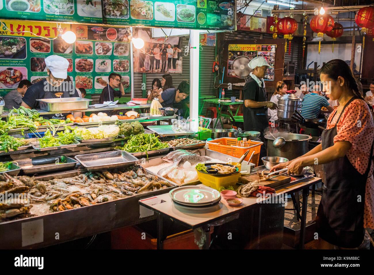 Restaurant Street Food Night Market At Itsara Nuphap Chinatown