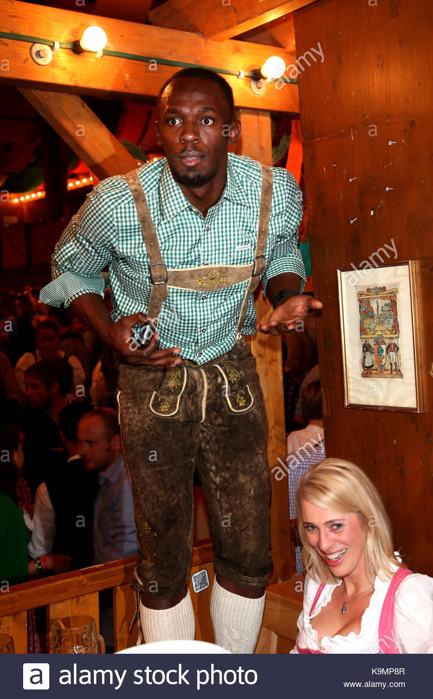 Fastest man on earth Usain Bolt visits the Schuetzen-Tent at the original traditional Oktoberfest in Munich Germany  sc 1 st  Alamy & Usain Bolt. Fastest man on earth Usain Bolt visits the Schuetzen ...