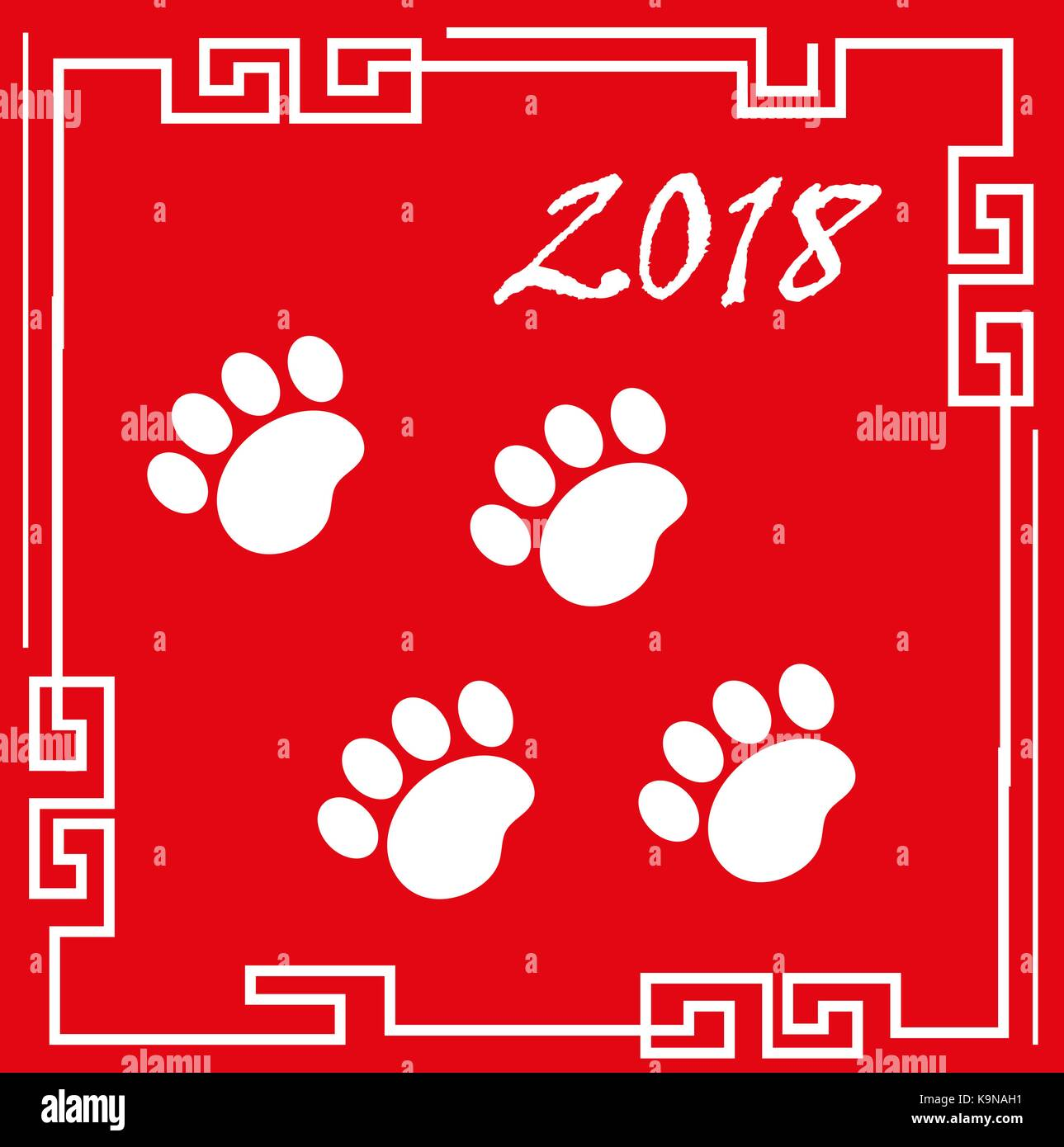happy chinese new year 2018 greeting card with traces of dog paws china new year template for your design vector illustration