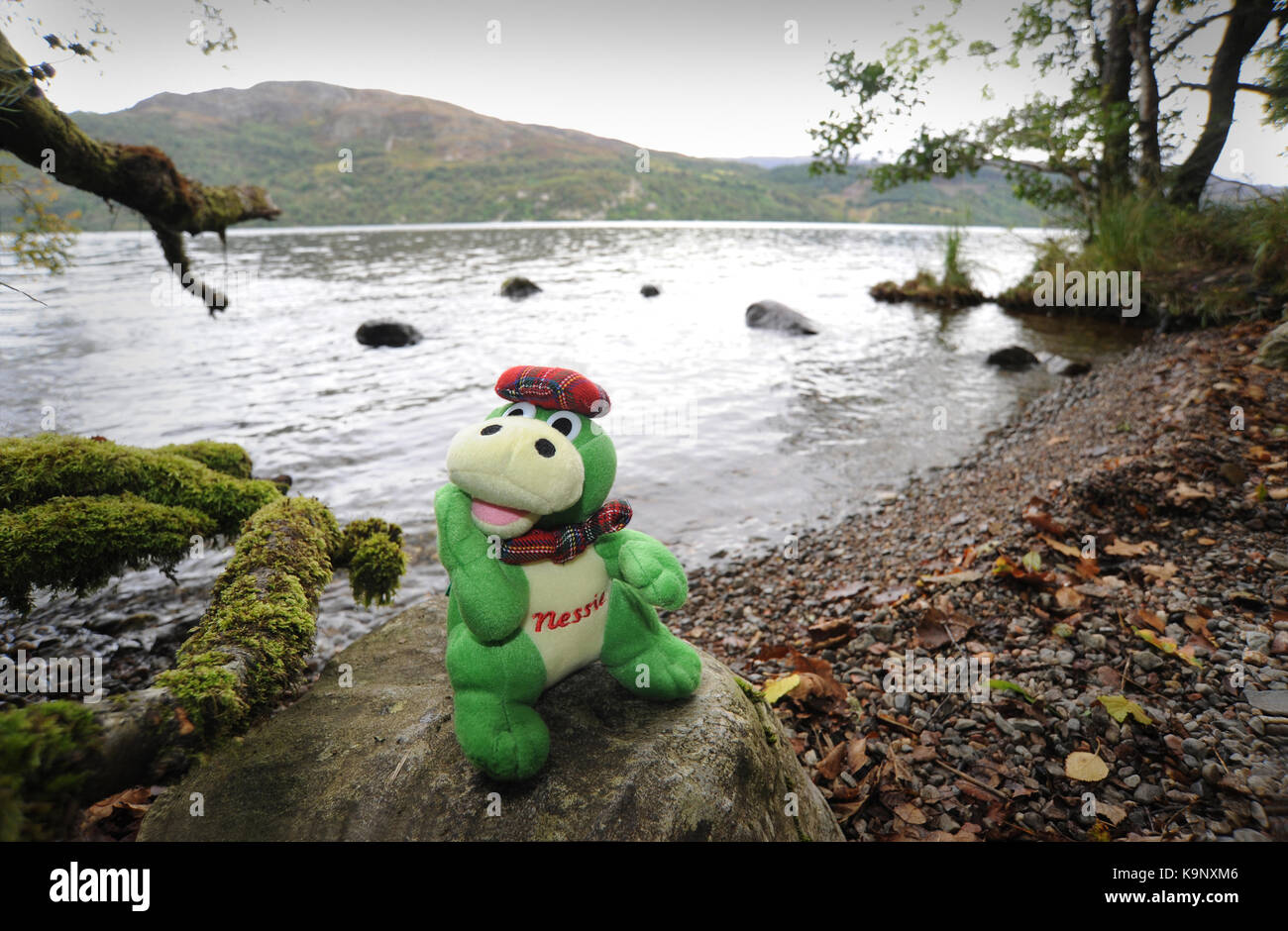 LOCH NESS MONSTER TOY ON SHORES OF LOCH NESS NEAR FORT AUGUSTUS ...