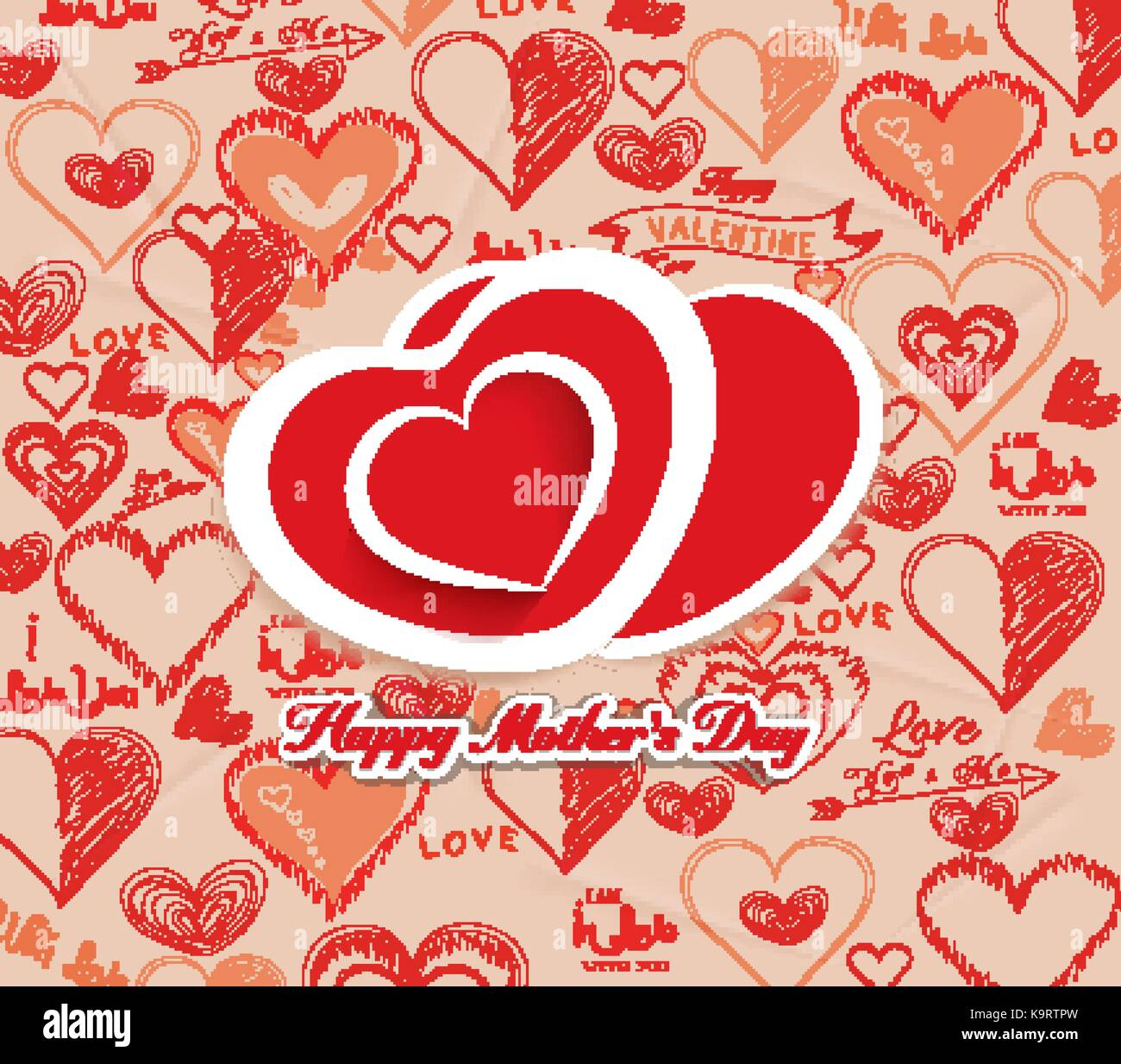happy mothers day with hearts i love family stock vector art