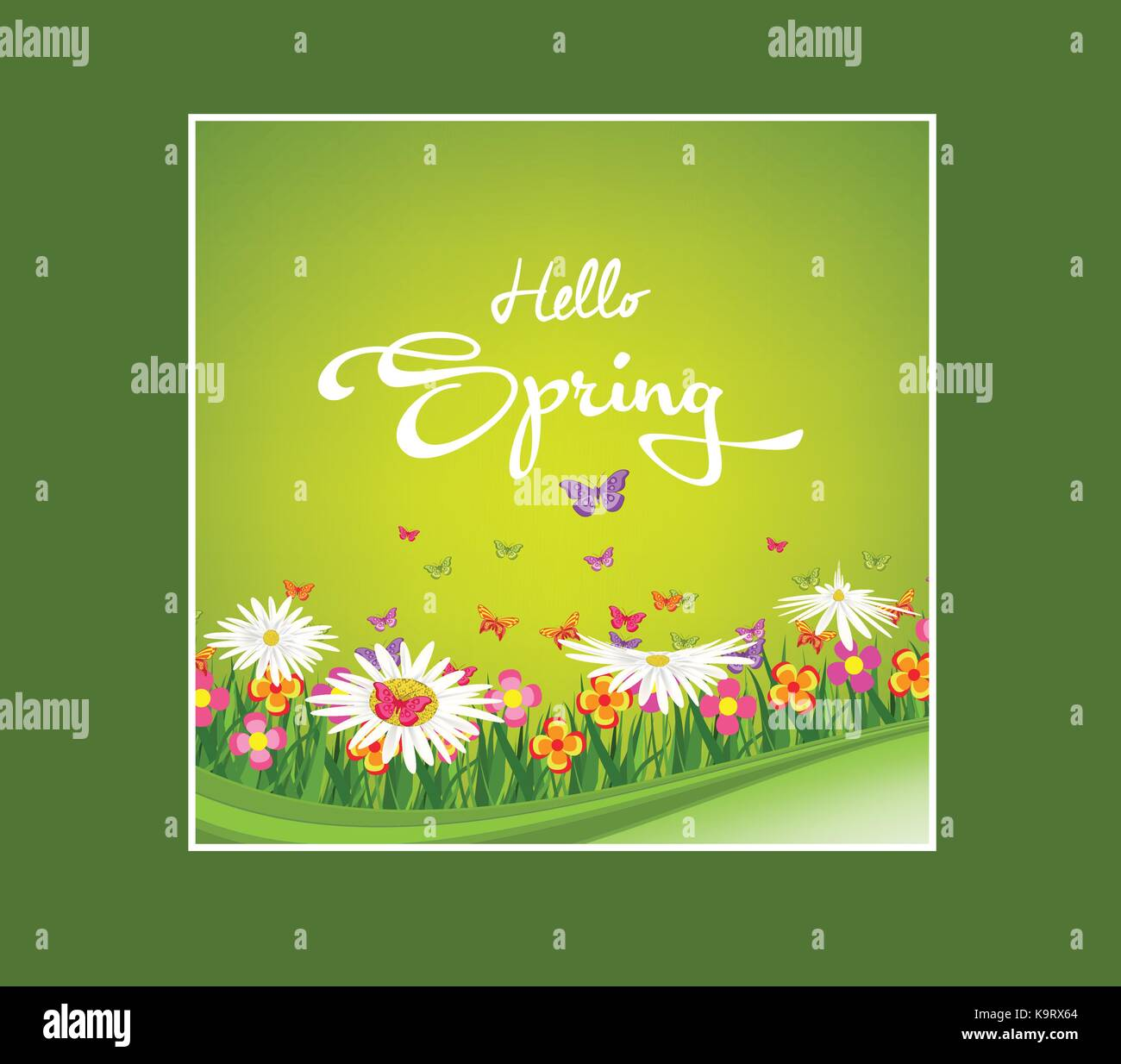 Inscription Spring Time On Background With Spring Flowers And Stock