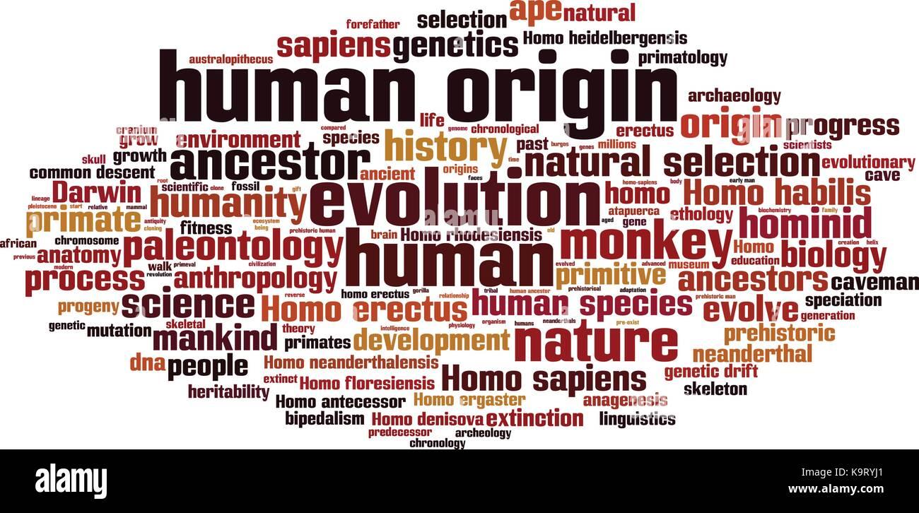 human origin word cloud concept vector illustration stock vector