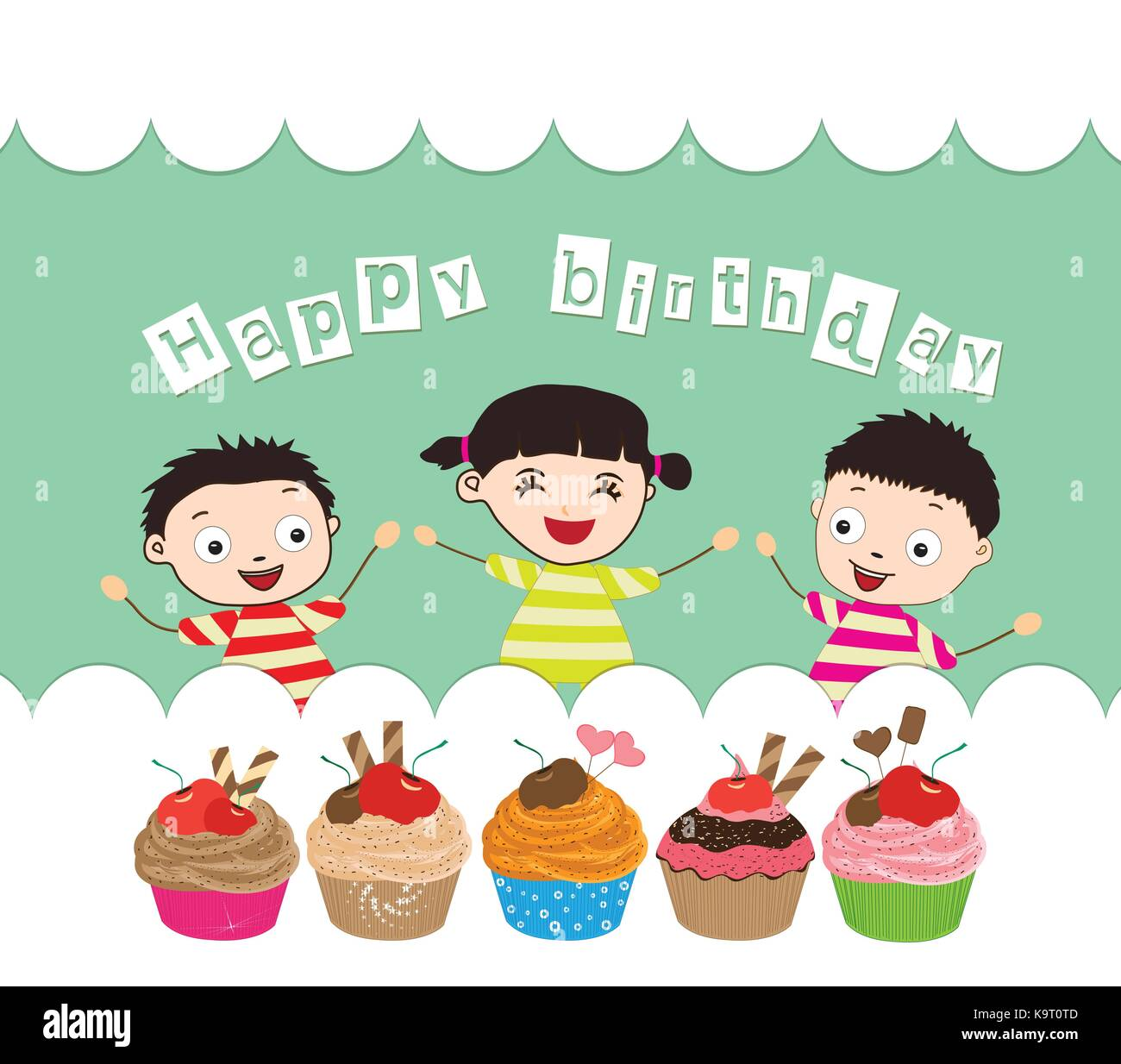 Happy Birthday card with kids and cupcakes Vector Art – Happy Birthday Card for Kids