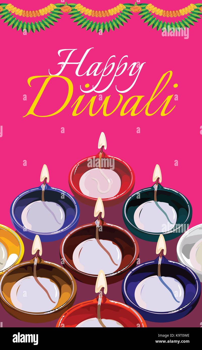 Diwali Greeting Card Illustration Using Traditional Illuminated Oil Clay Lamp Or Diya With Happy Text