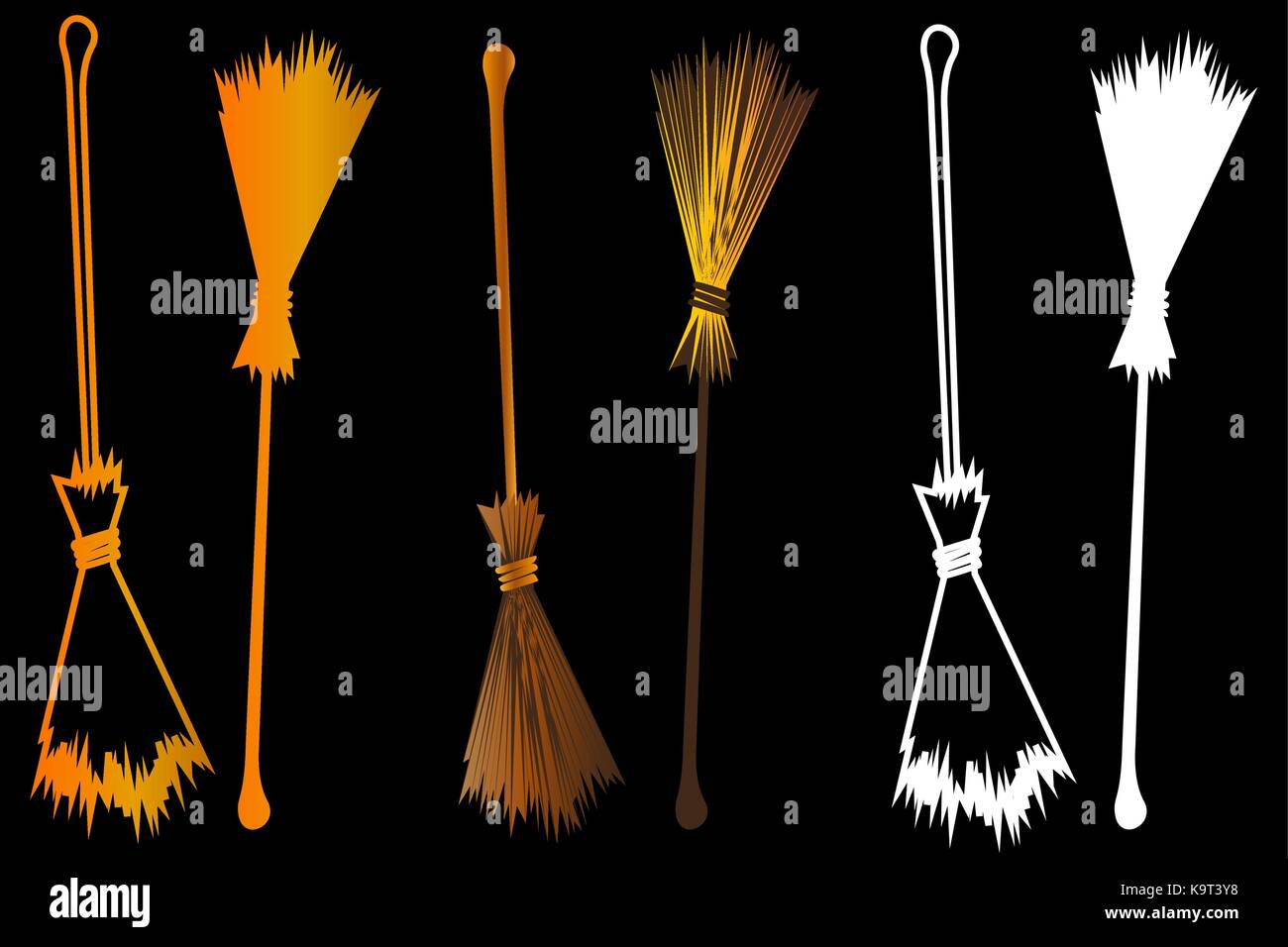 halloween witches broomstick witches broom illustration vector