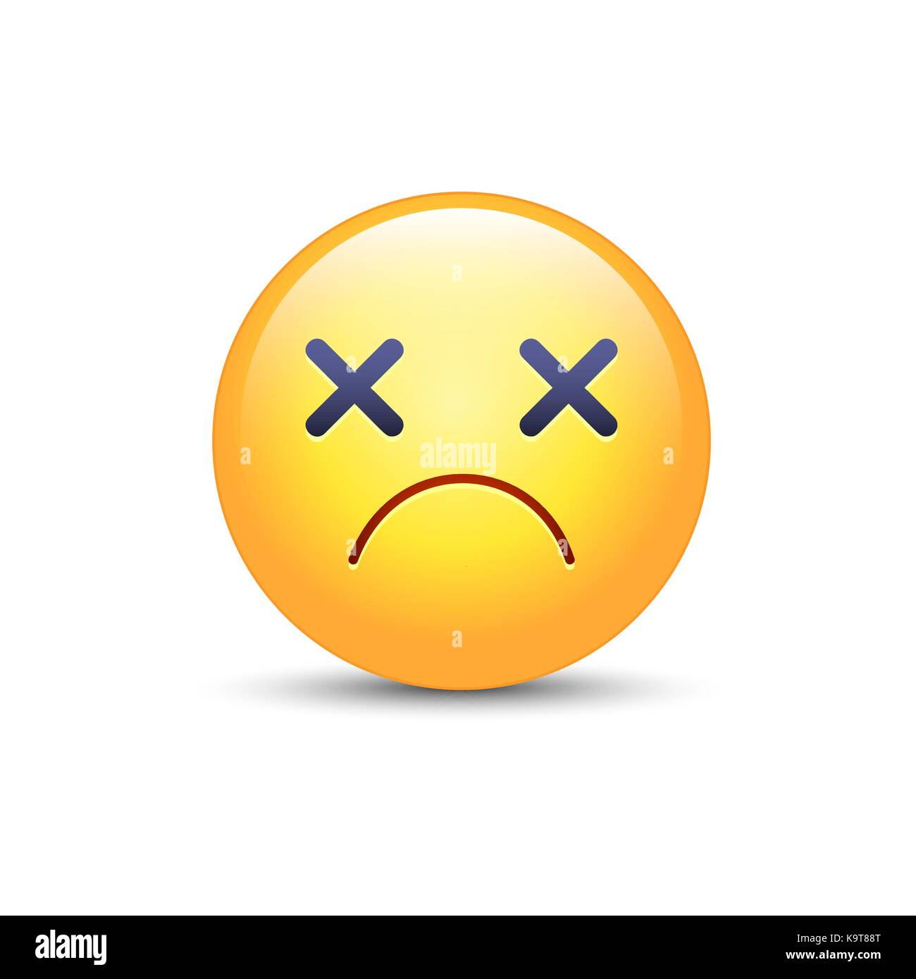 dizzy emoji face cross eyes emoticon vector icon sad cartoon