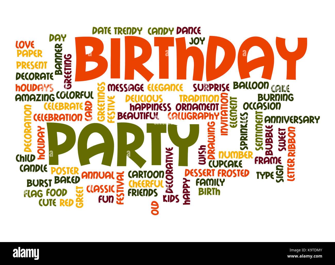 birthday party word cloud stock photo 160962843 alamy