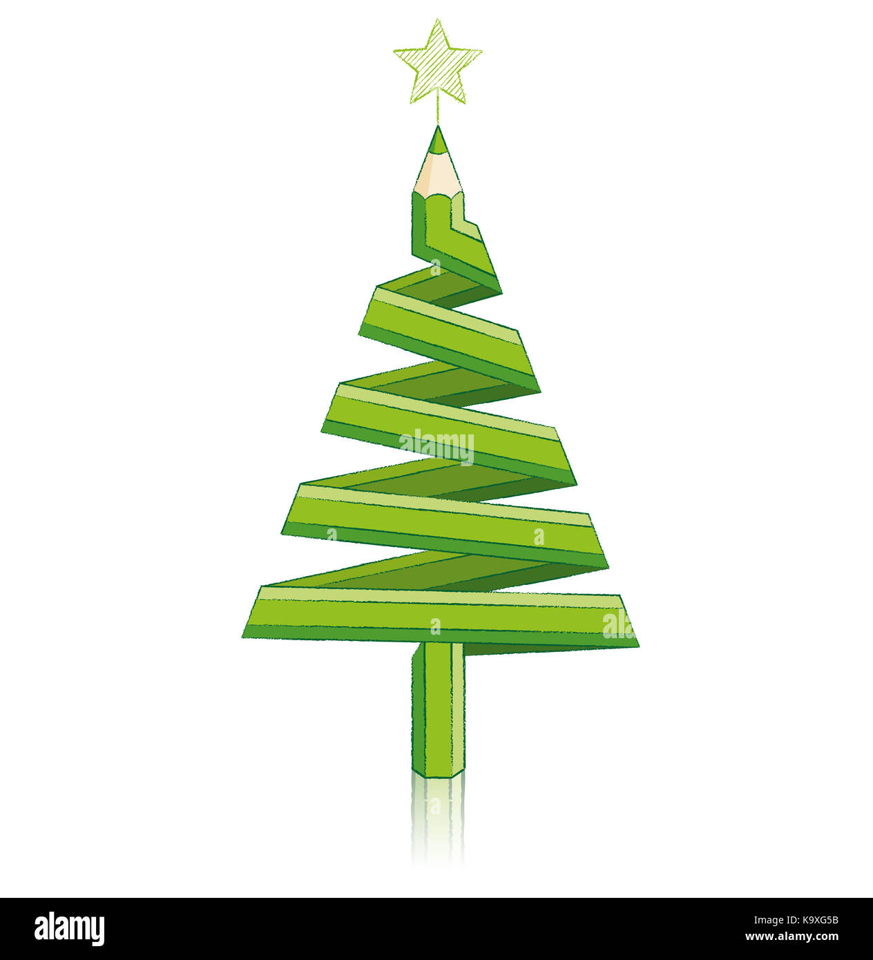 Green Pencil in shape of Christmas Tree with Reflection drawing Star ...