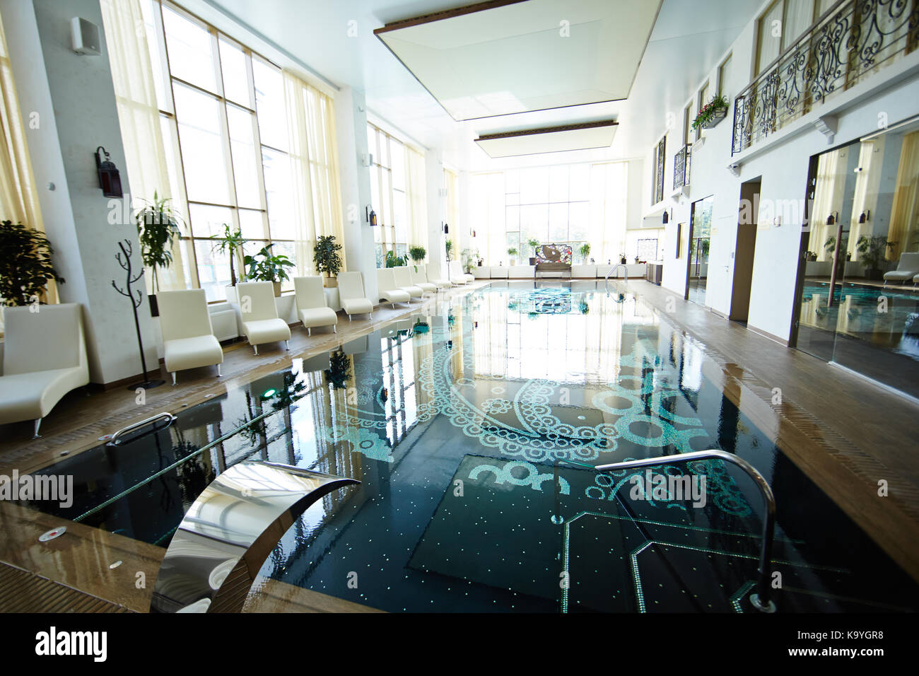 Background Image Of Designer Swimming Pool Interior In Luxury Spa