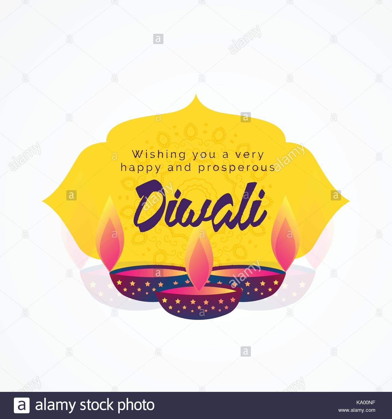 Diwali Wishes Greeting Card Design With Diya Stock Vector Art
