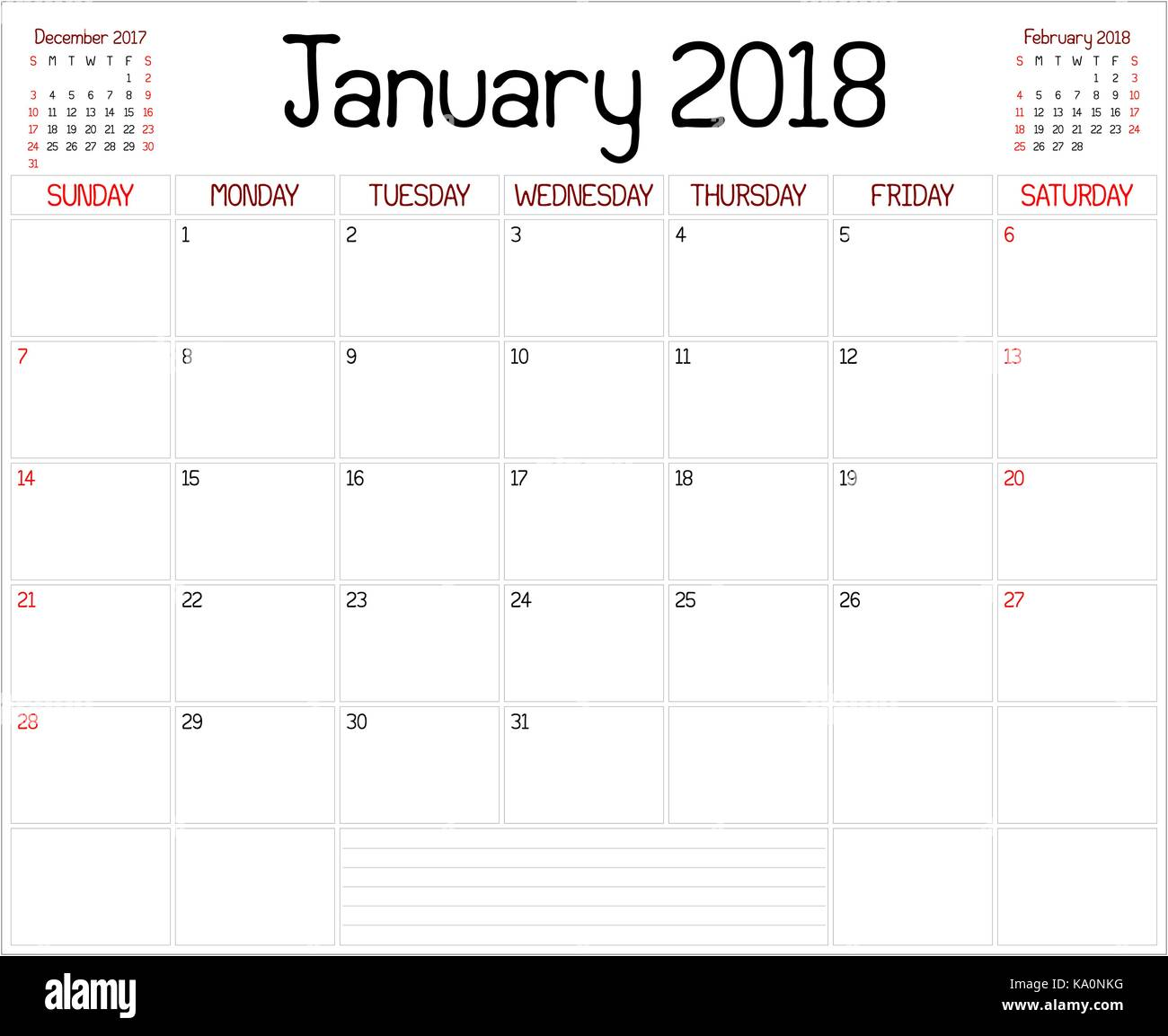 Year 2018 January Planner - A monthly planner calendar for January ...