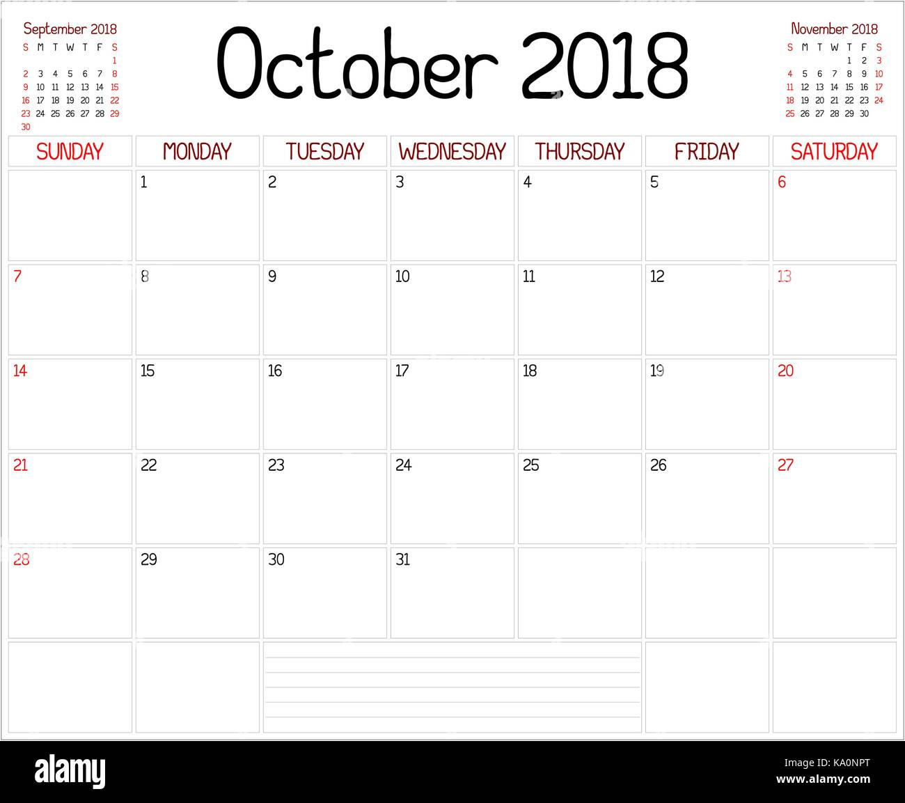 daily calendar october 2018