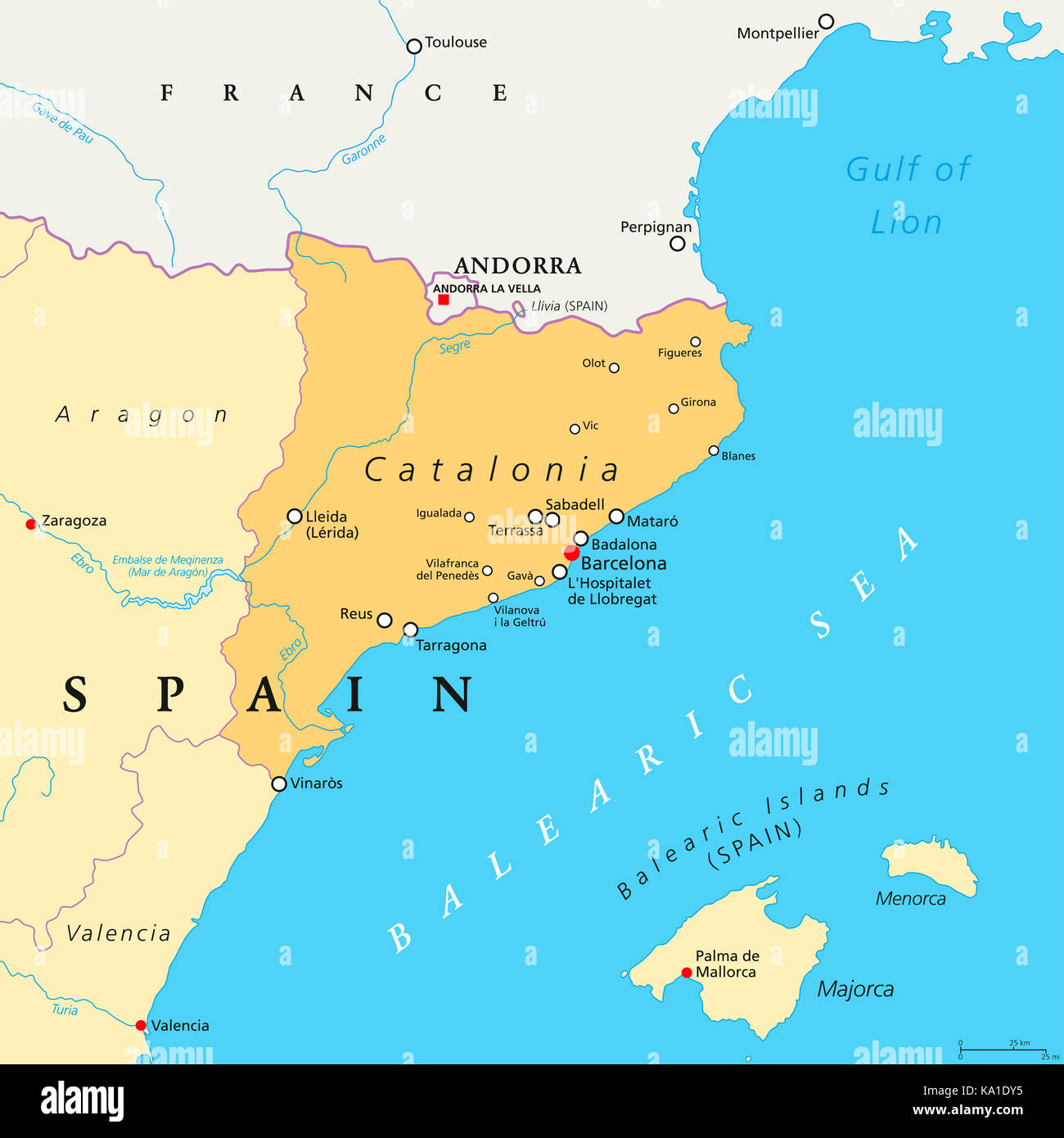 World Map Catalonia. Catalonia political map with capital Barcelona  borders and important cities Autonomous community of Spain Illustration