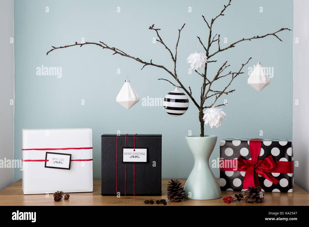 Modern and elegant nordic christmas decor in black and white and red ...