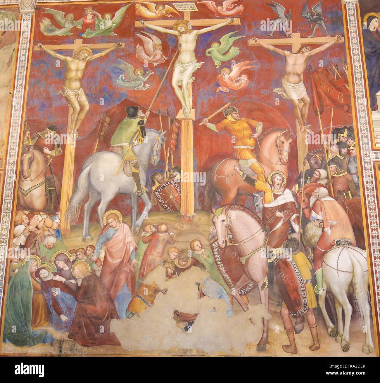 renaissance fresco depicting the crucifixion of jesus christ in