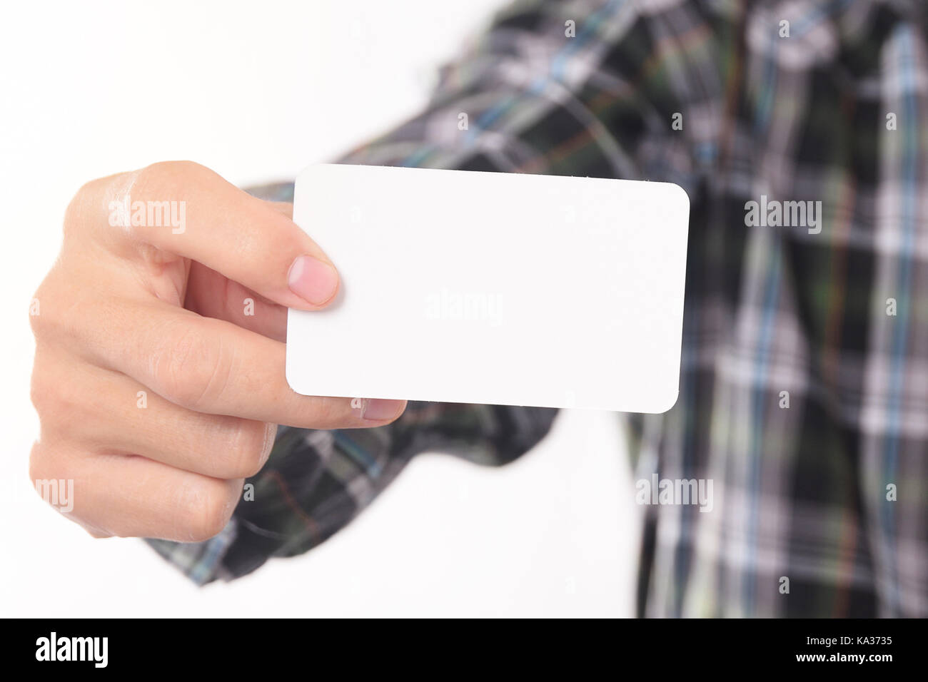 Young Man Takes Out Blank Business Card From The Pocket Of His ...