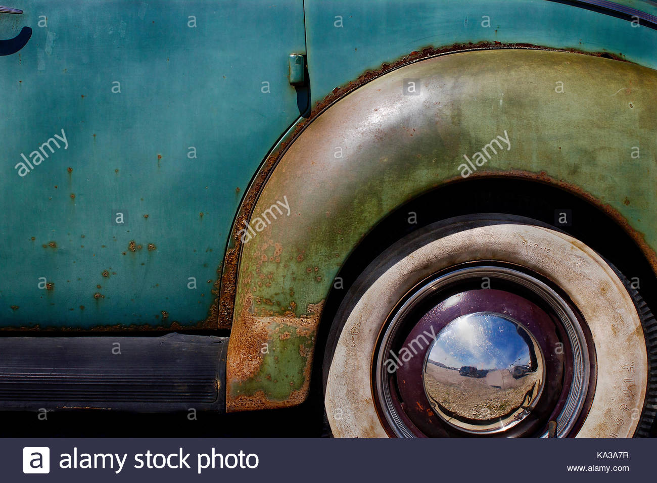classic 1940u0027s american car with whitewall tires with rust and peeling paint stock image