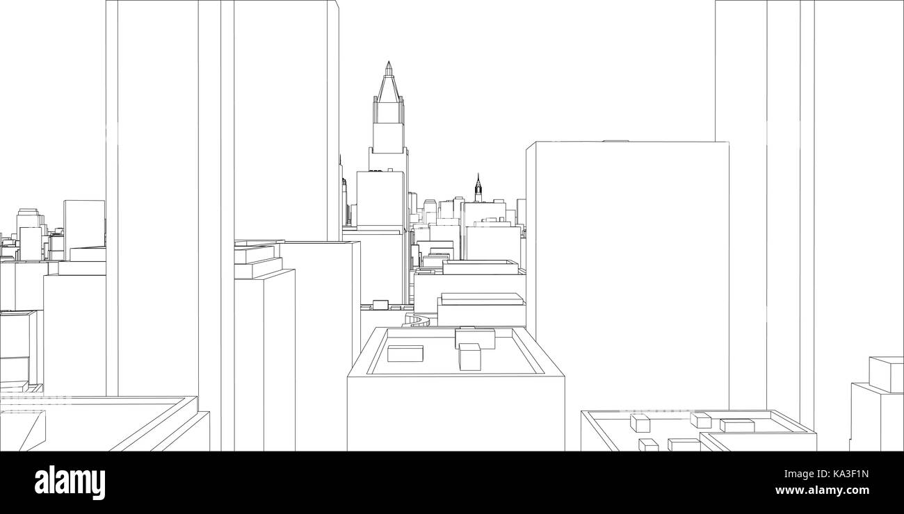 Wire frame new york city blueprint style stock vector art wire frame new york city blueprint style malvernweather Image collections