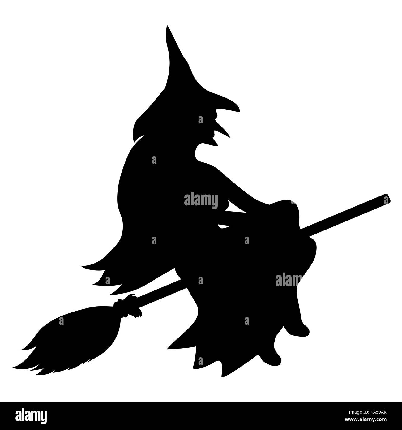 silhouette of a witch on a broomstick on halloween stock vector art