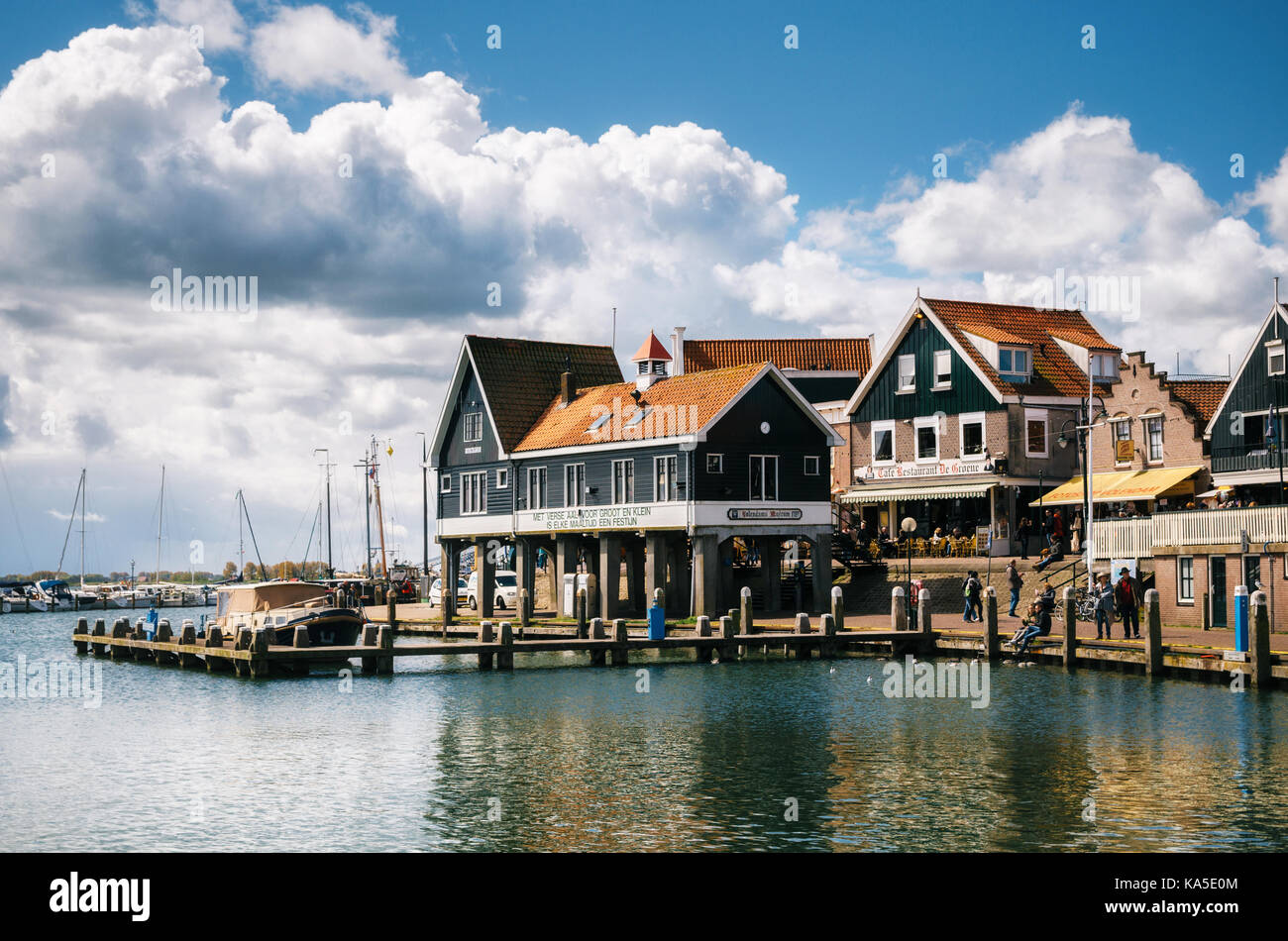 Edam Netherlands Map%0A Volendam  Netherlands     April        Typical traditional houses on  stilts on the