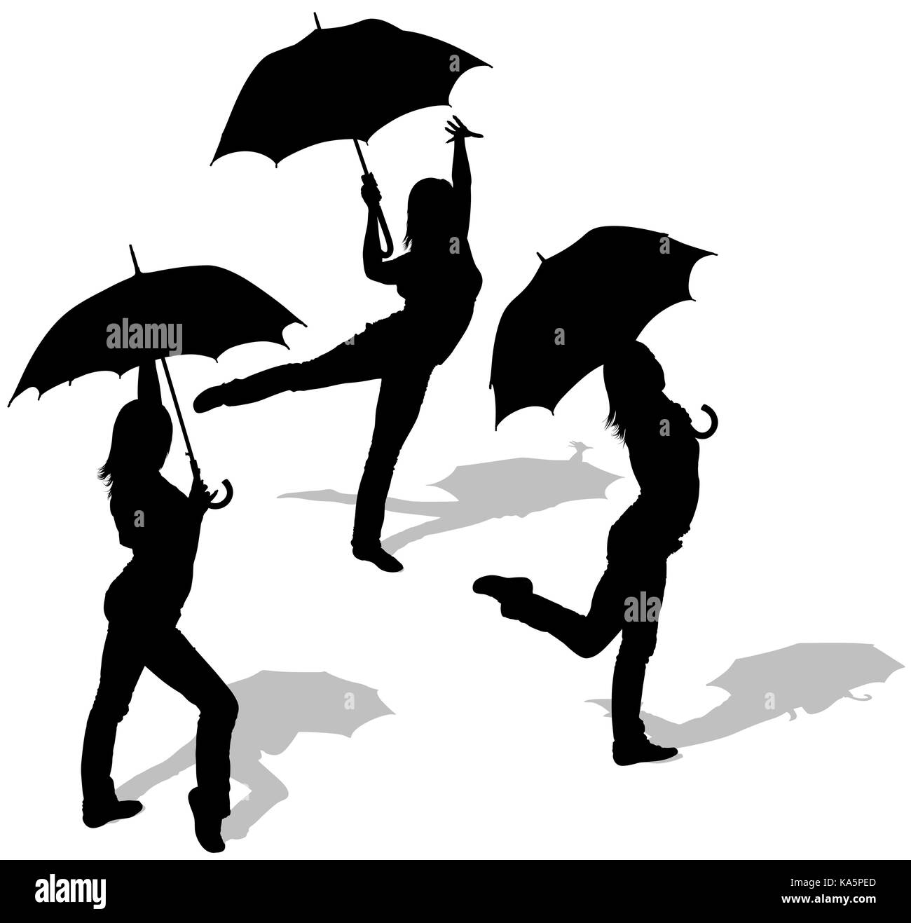 illustration silhouette girl holding umbrella stock photos Me Dancing in the Rain Dancing in the Rain Photography