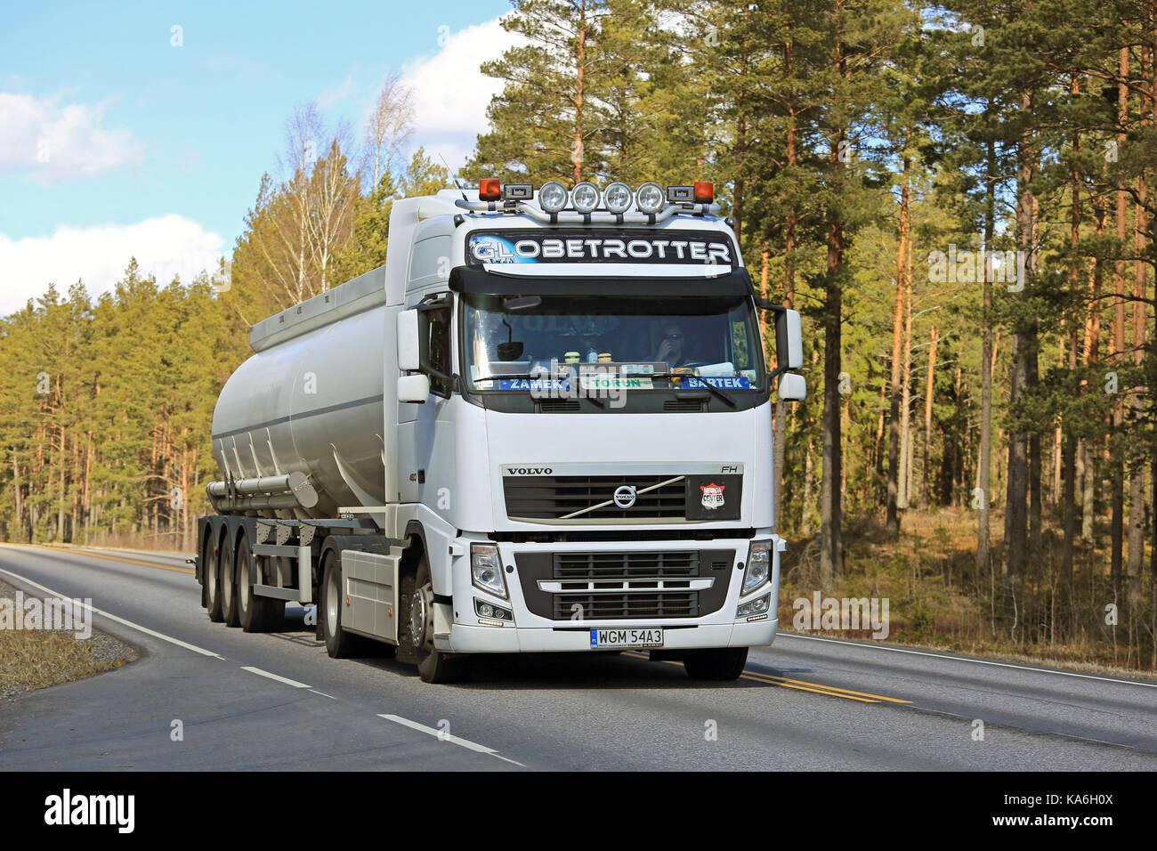 Salo Finland April 21 2017 White Volvo Fh Semi Tank Truck From