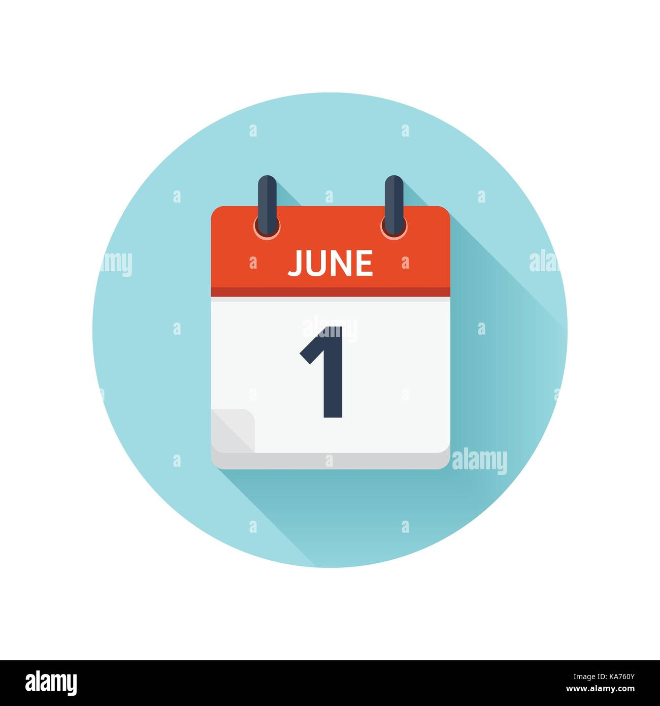 June 1. Vector flat daily calendar icon. Date and time, day, month ...