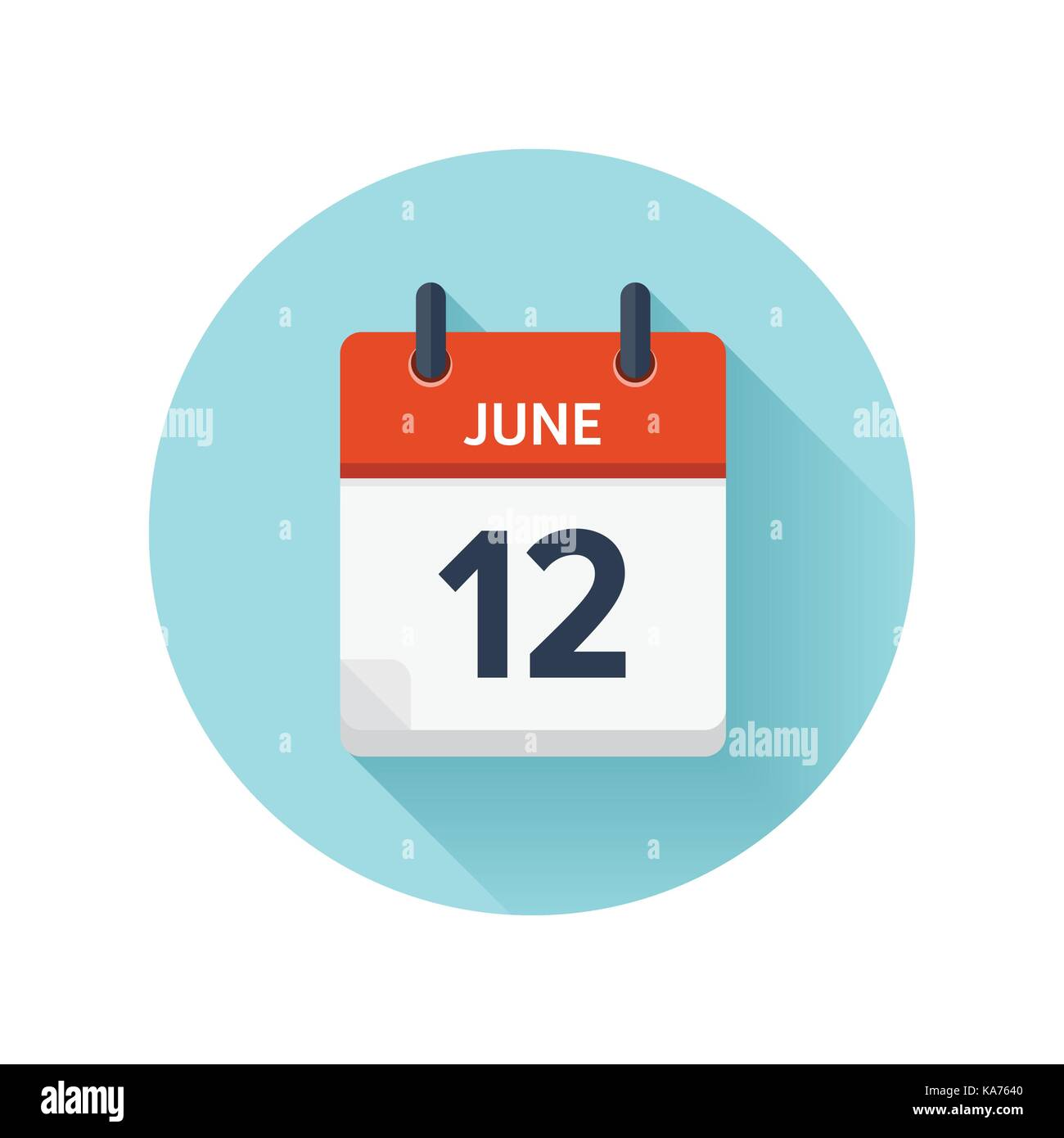 June 12. Vector flat daily calendar icon. Date and time, day ...