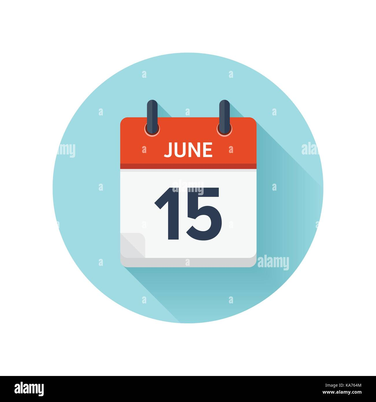 June 15. Vector flat daily calendar icon. Date and time, day ...