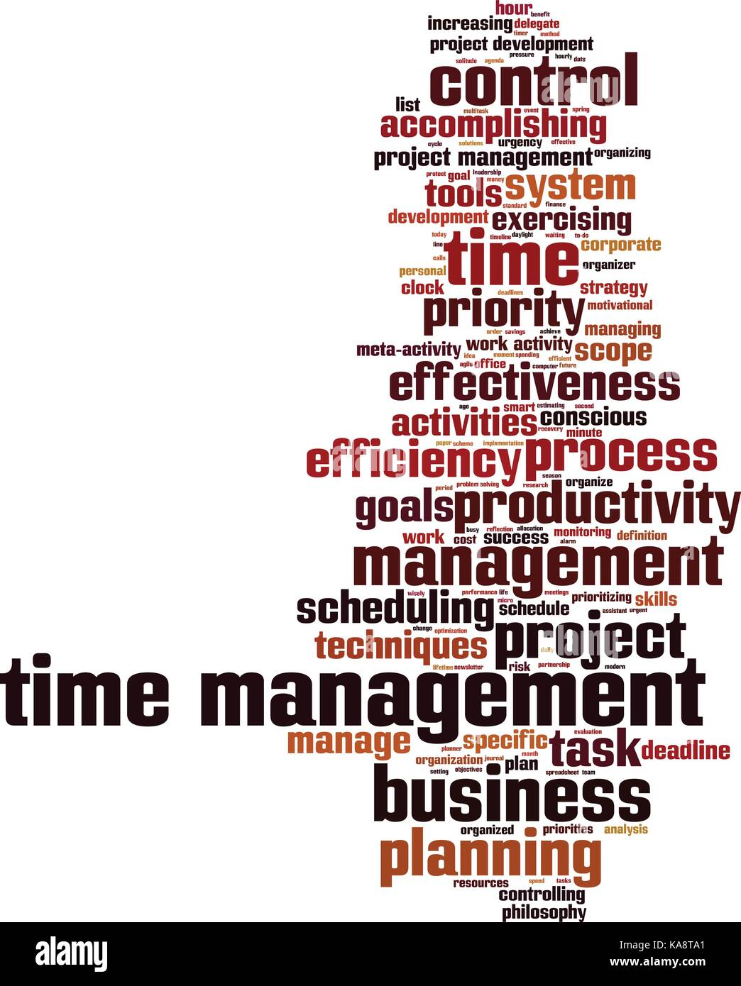 time management word cloud concept. vector illustration stock vector