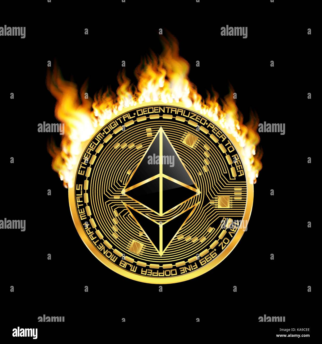 Crypto Currency Ethereum Golden Symbol On Fire Stock Vector Art