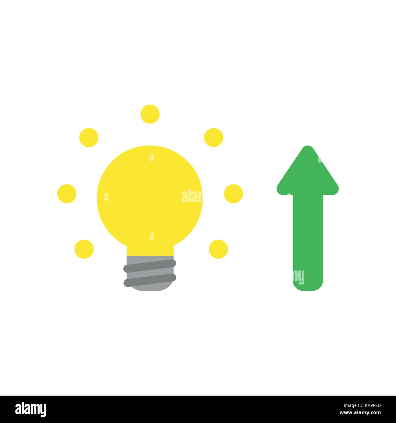 Flat design style vector illustration concept of yellow glowing flat design style vector illustration concept of yellow glowing light bulb with green arrow symbol icon buycottarizona Choice Image
