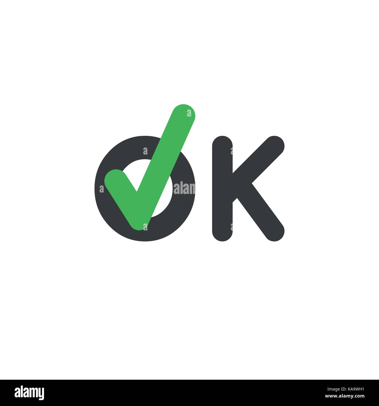 Flat Design Style Vector Illustration Concept Of Ok Word Text With