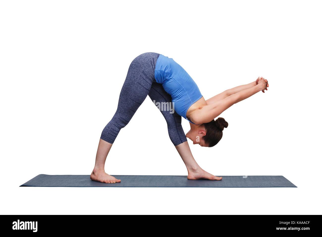 woman doing ashtanga vinyasa yoga asana parsvottanasana stock image - Ausatmen Fans Usa