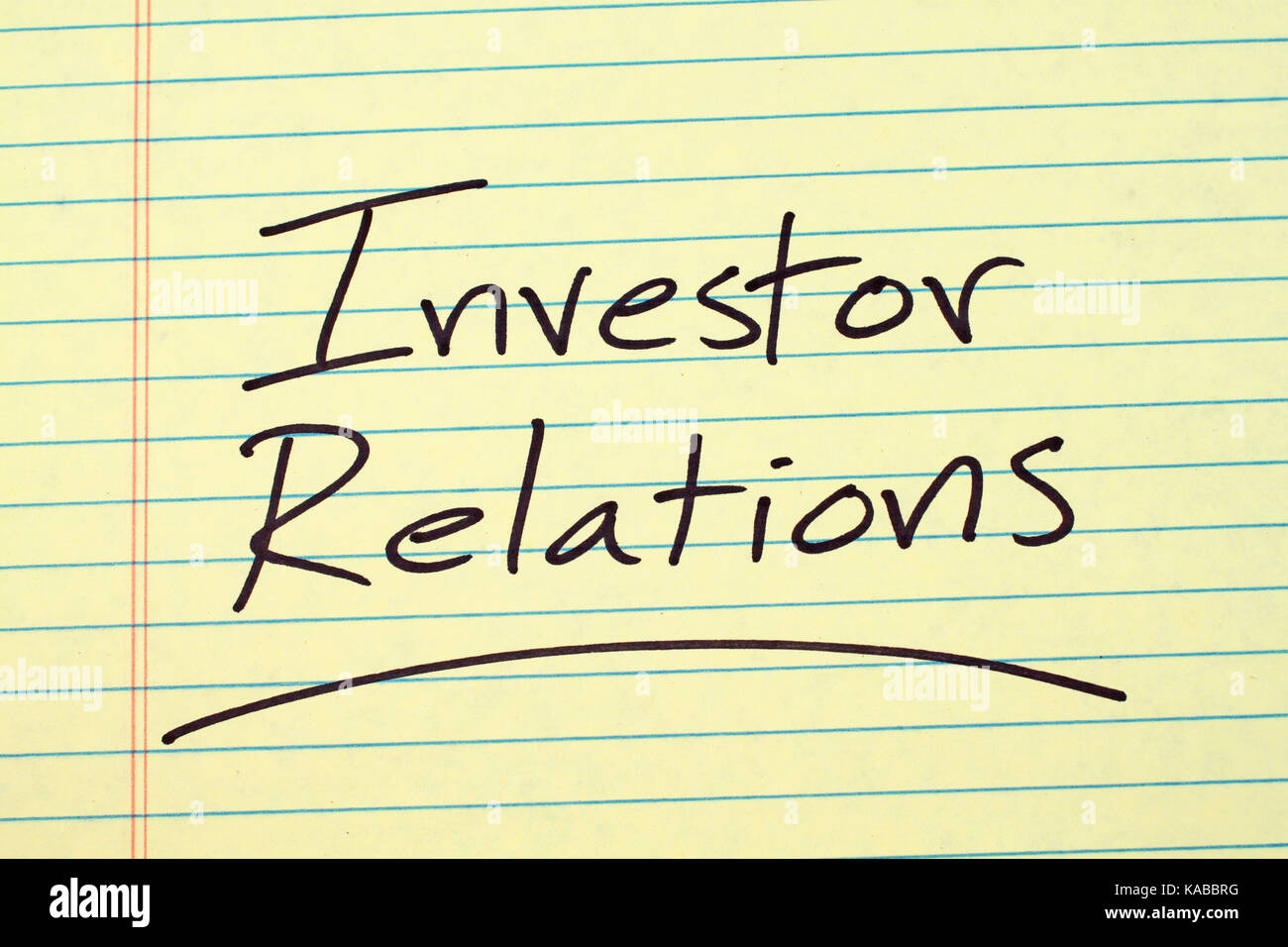 Investor relations stock photos investor relations stock images the word investor relations underlined on a yellow legal pad stock image kristyandbryce Images
