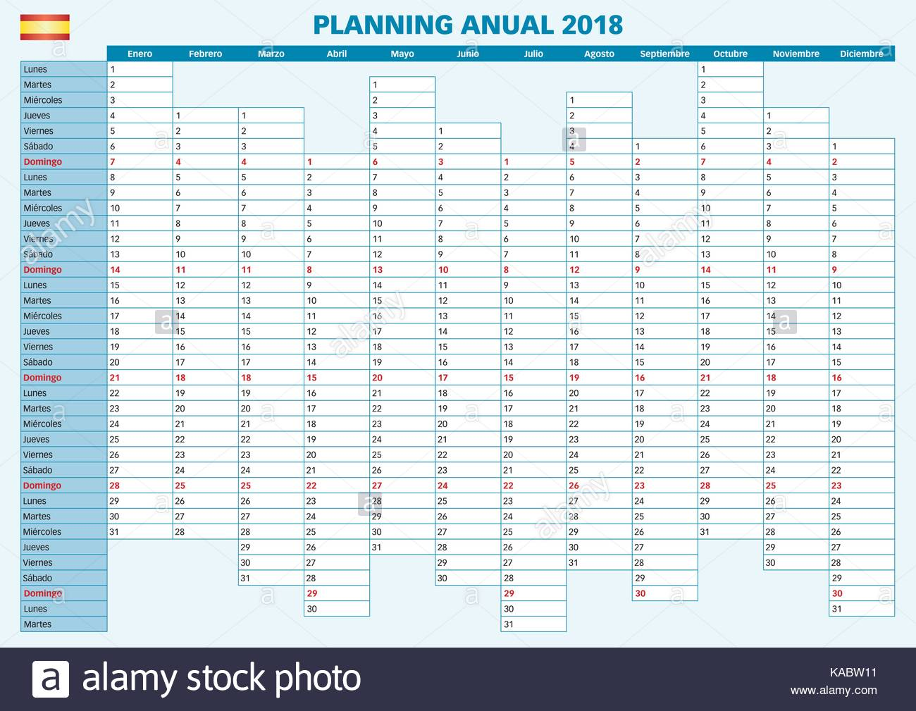 2018 annual planner spanish calendar for year 2018 year planner