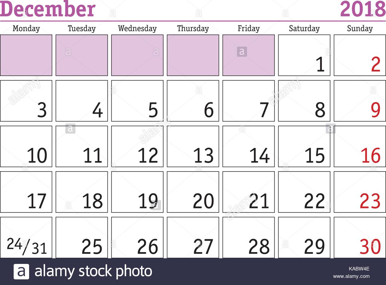 December Calendar Art : Simple digital calendar for december vector printable