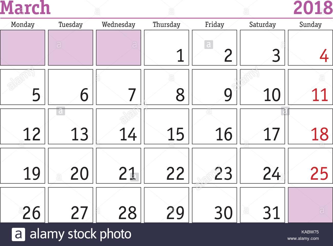 simple digital calendar for march 2018 vector printable calendar monthly scheduler week starts on monday english calendar