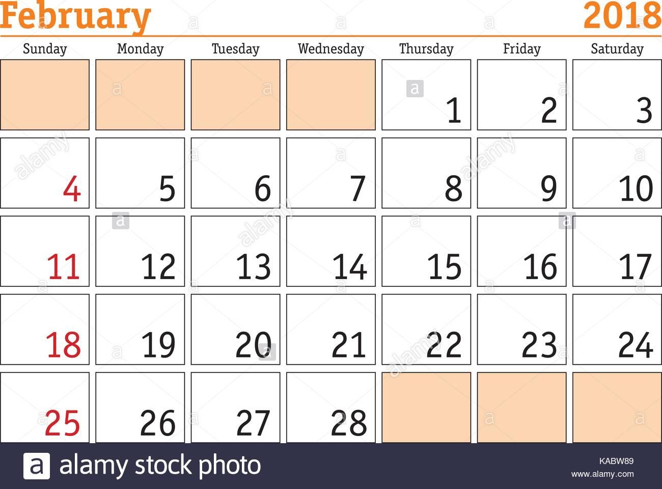 Simple digital calendar for February 2018. Vector printable ...
